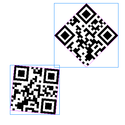 Two barcodes with bounding boxes and polygons