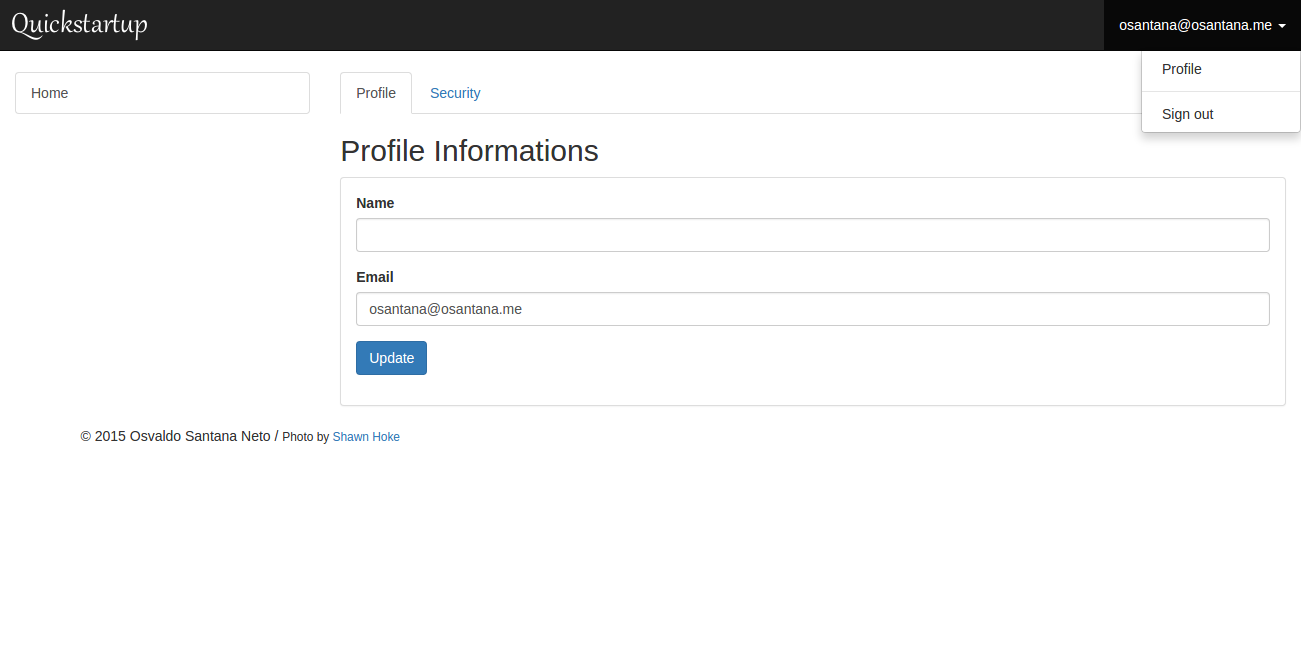 Sample Application showing user profile editor