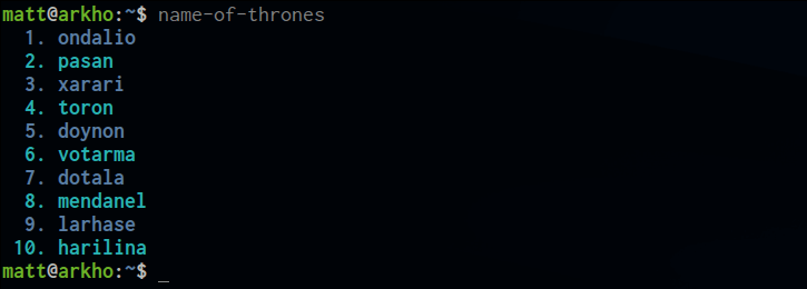 Name of Thrones screenshot