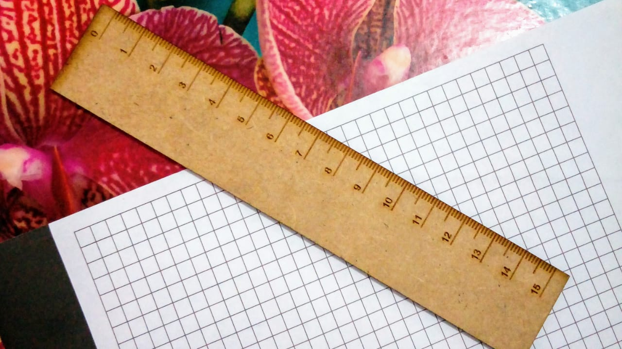 Ruler that has been manufactured from a dxf produced by this script.