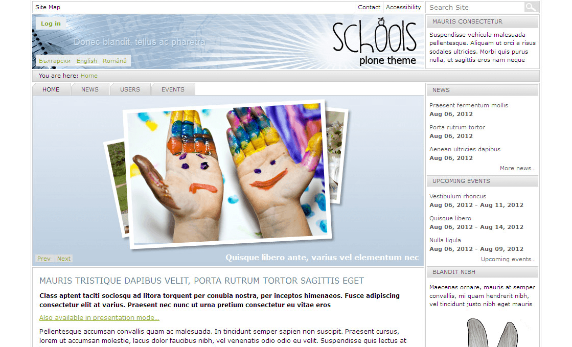 Schools Plone Theme Screenshot
