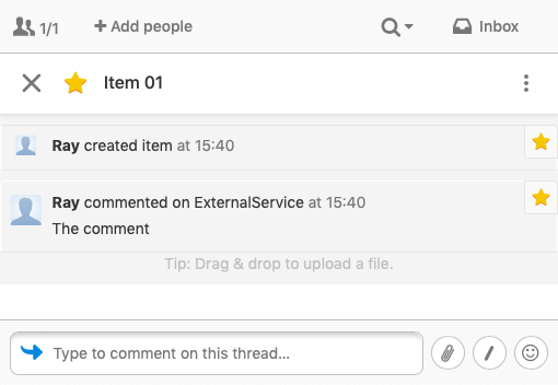 basic expected result shows the presented item name, a user created item, and discussion