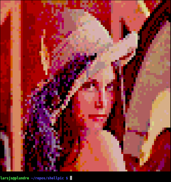 Lenna displayed with a color depth of 8 bits.