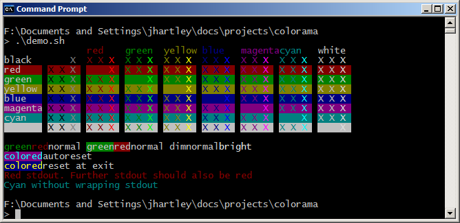 Same ANSI Sequences On Windows Using Colorama