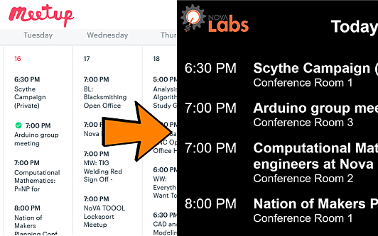 Diagram of meetup2xibo's function showing events from a screenshot of a Meetup.com calendar transformed into events displayed by Xibo in a daily agenda.
