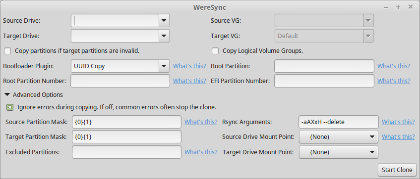 Picture of WereSync GUI