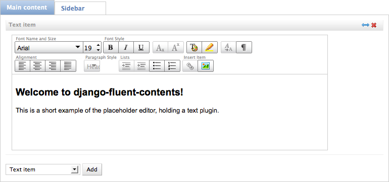 django-fluent-contents placeholder editor preview