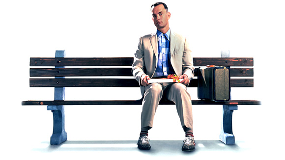 Forrest Gump sitting on a bench waiting for the bus (source http://skymovies.sky.com/image/unscaled/2008/12/9/Forrest-Gump.jpg)