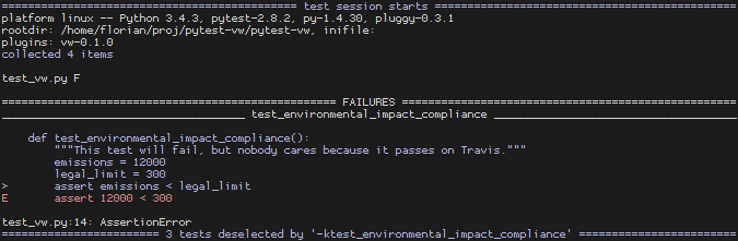 Failing test in dev environment