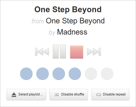 Playback control interface of the simple Mopidy webclient.