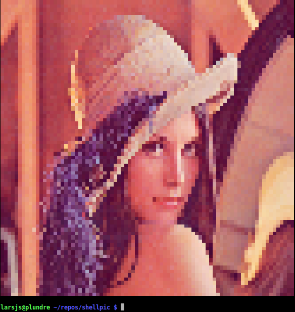 Lenna displayed with a color depth of 24 bits.