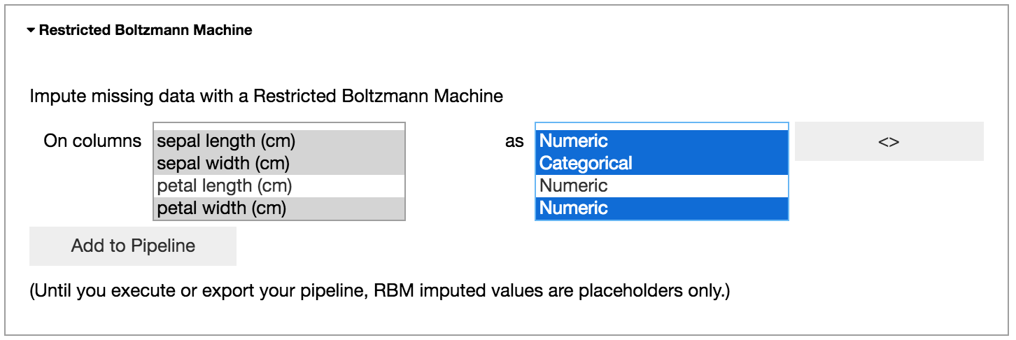 Creating a Restricted Boltzmann Machine cleaning step.